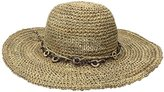 Scala Women's Crocheted Seagrass Hat with Wood Trim