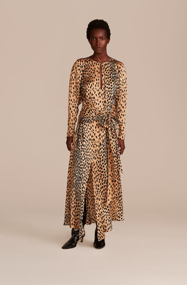 Rebecca Taylor Pebbled Leopard Tie Waist Dress