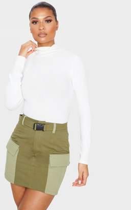PrettyLittleThing Khaki Cargo Pocket Belted Mini Skirt