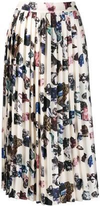 Victoria Victoria Beckham Pleated Crystal Print Skirt