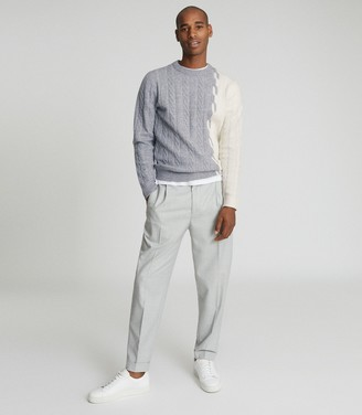 Reiss STAG CABLE KNIT COLOUR BLOCK JUMPER Airforce Blue