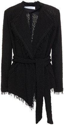 IRO Belted Frayed Cotton-blend Boucle Jacket