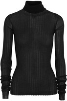 Bottega Veneta Ribbed Cotton-blend Turtleneck Sweater - Black