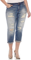 Arizona Destructed Boyfriend Jeans - Juniors Plus