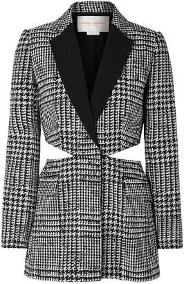 Carolina Herrera Cutout Houndstooth Wool And Silk-blend Blazer