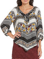 Soulmates Lace-Up Scarf Print Top