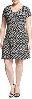 Neiman Marcus Charlotte Cap-Sleeve Dress, Black/White, Plus Size