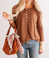 So Perla Affordable So Perla Affordable Women's Tunics Lt - Light Brown Button-Front Tunic - Women & Plus
