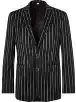 Burberry Black Slim-Fit Pinstriped Virgin Wool-Blend Suit Jacket