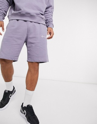 Mennace essential signature co-ord shorts in grey violet