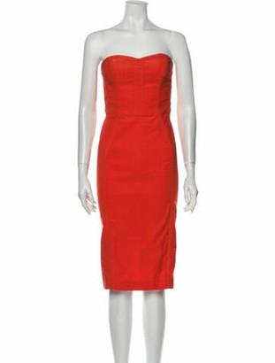 Veronica Beard Strapless Midi Length Dress Orange