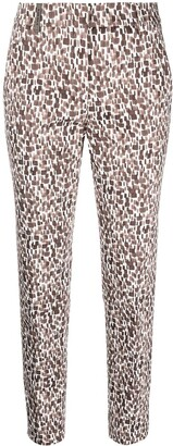 Peserico Geometric-Print Cropped Trousers