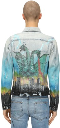 Amiri Airbrushcity Cotton Denim Trucker Jacket