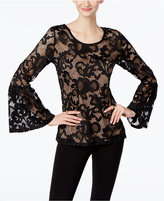 INC International Concepts Lace Bell-Sleeve Top, Only at Macy's