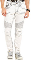 Rock Revival Contrast Embroidered Gilmore K1 Straight-Fit Moto Jeans