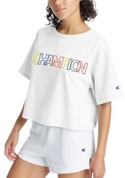 Champion Women's Cotton Heritage Logo Cropped T-Shirt
