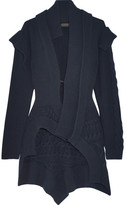 Burberry Cable Knit-paneled Ribbed Wool And Cashmere-blend Cardigan - Navy