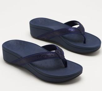 Vionic Platform Leather Thong Sandals - High Tide Metallic