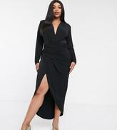 John Zack Plus wrap front maxi dress in black