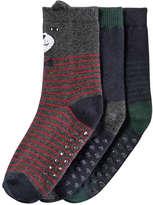 Joe Fresh Toddler Boys' 3 Pack Print Socks, Charcoal (Size 3-5)