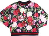 Miss Blumarine Floral Printed Cotton Sweatshirt