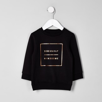 River Island Mini boys Black 'seriously handsome' sweater
