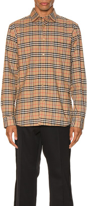 Burberry Small Scale Stretch Check Shirt in Camel Check | FWRD