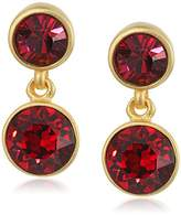 Kenneth Jay Lane 2 Drop Post Earring In Gold Ruby Drop Earring