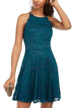 BCX Juniors' Scalloped Lace Fit & Flare Dress
