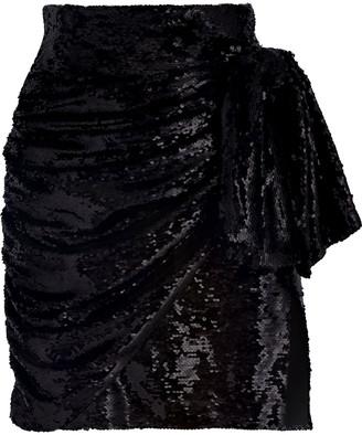16Arlington Bow-embellished Draped Sequined Tulle Mini Skirt
