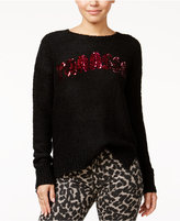 Oh!MG Juniors' Yaasss Sequined Graphic Sweater