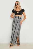 boohoo Samara Monochrome Thigh High Split Maxi Skirt multi