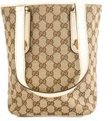 Gucci Creme Leather GG Canvas Charmy Tote Bag (Pre Owned)