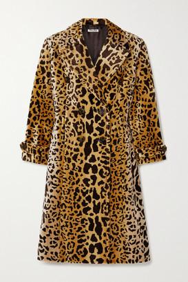Miu Miu Double-breasted Leopard-print Velvet Coat - Brown