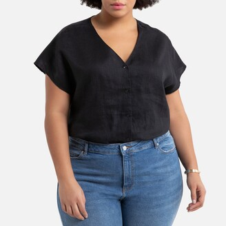 La Redoute Collections Plus Linen V-Neck Blouse with Short Sleeves
