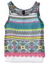 Jessica Simpson 2T-6X Britt Exotic Tile & Solid-Stripe 2-Fer Top