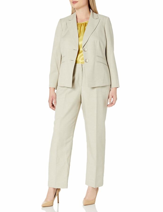 Le Suit Womens Melange Herringbone 3 Bttn Notch Lapel Pant Suit
