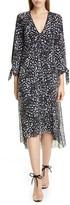 Fuzzi Leopard Print Tie Long Sleeve Midi Dress