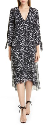 Fuzzi Leopard Print Tie Long Sleeve Midi Dress