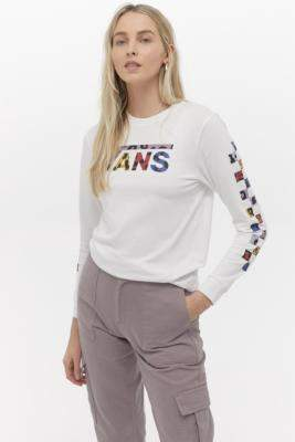 Vans Wyld Tangle Boyfriend Long Sleeve T-Shirt - white XS at Urban Outfitters