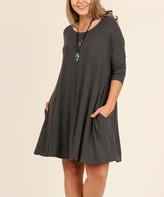 Ash Three-Quarter Sleeve Shift Dress - Plus
