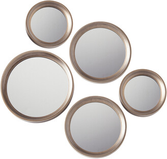 Torre & Tagus Portico Round Antique Gold Set Of Five Mirrors