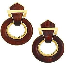 David Webb Women's Woodworks 18K Yellow Gold & Bloodwood Doorknocker Clip-On Earrings