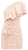 Alexandre Vauthier One-shoulder Wool-blend Tweed Mini Dress - Womens - Light Pink