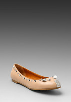 Marc by Marc Jacobs Metallic Mouse Ballerina Flat in Nude and Silver