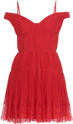 Self-Portrait Self Portrait Off Shoulder Pleated Chiffon Mini Dress