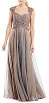La Femme Lace Applique Sweetheart Neckline Gown
