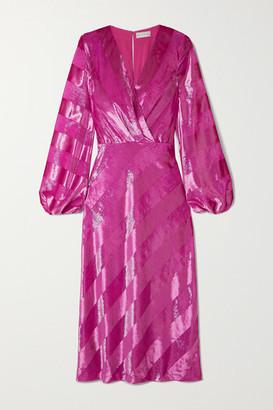 Rebecca Vallance Maison Striped Metallic Velvet Midi Dress - Magenta