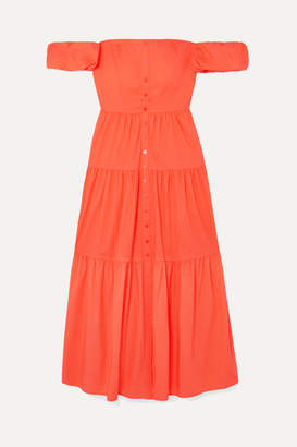 STAUD Elio Off-the-shoulder Cotton-blend Midi Dress - Orange