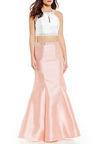 B. Darlin Color Block Two-Piece Beaded Trumpet Dress
